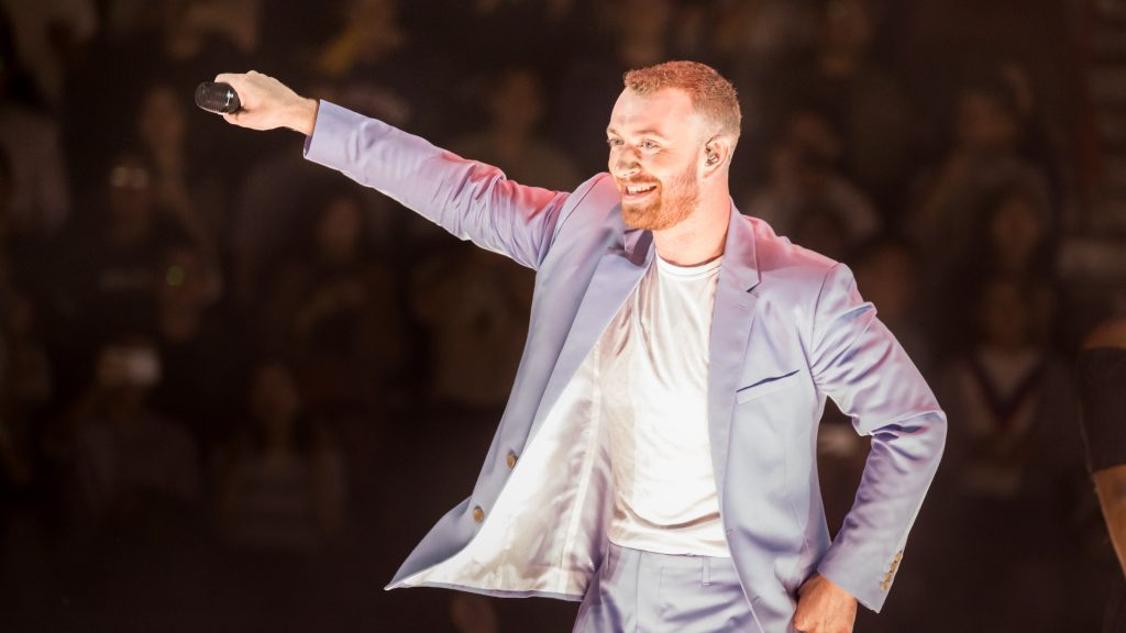 SHANGHAI, CHINA - OCTOBER 23: English singer Sam Smith performs onstage during his 'the Thrill of It All' world tour 2018 at Mercedes-Benz Arena on October 23, 2018 in Shanghai, China.