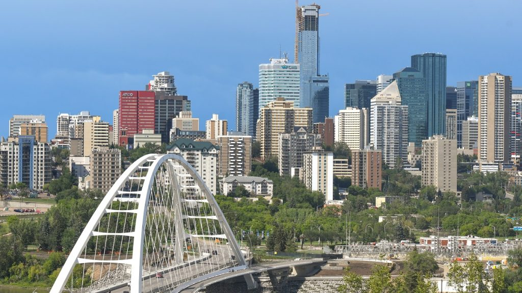 A general view of Edmonton's downtown with the Walterdale Bridge and Stantec Tower under construction.