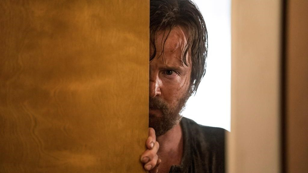"""This image released by Netflix shows Aaron Paul in a scene from """"El Camino: A Breaking Bad Movie."""" The film, a continuation of the """"Breaking Bad"""" series that concluded on AMC in 2013, premieres Friday on Netflix."""