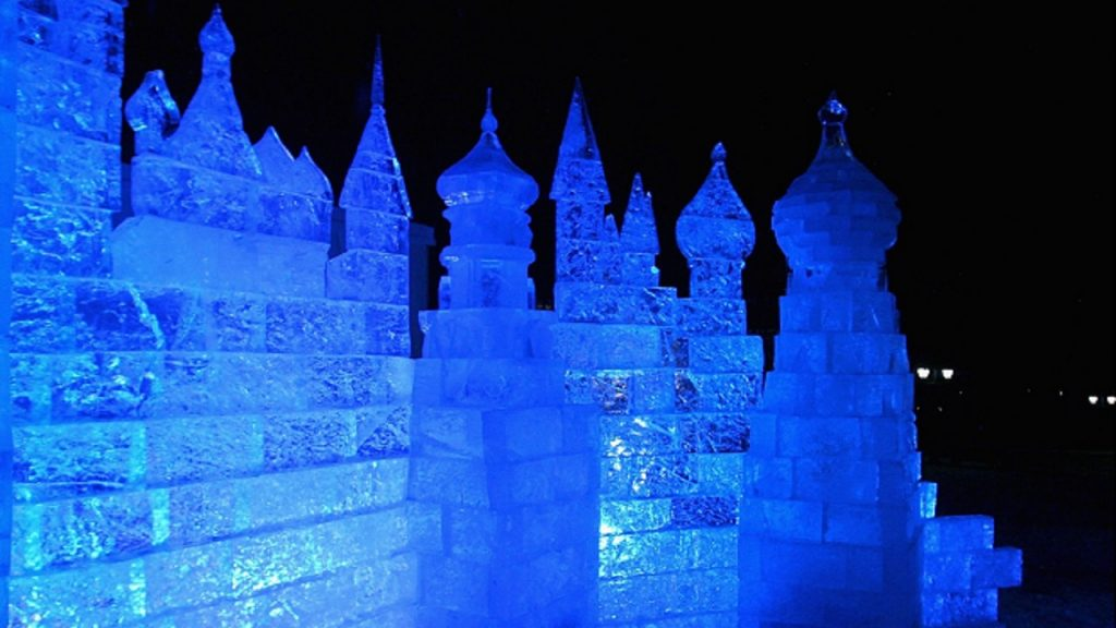 MOSCOW - FEBRUARY 14: An ice castle sculpture during the 'Love Ball' held at the Tsaritsino Palace Estate on February 14, 2008 in Moscow, Russia. Russian model Natalia Vodianova has hosted three days of events culminating in tonight's Ball in aid of her Charity, The Naked Heart Foundation. The Naked Heart Foundation builds playgrounds for disadvantaged Russian children. (Photo by Chris Jackson/Getty Images)