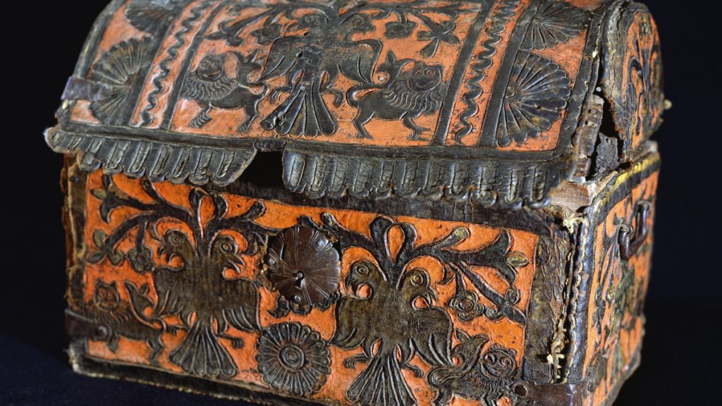 Tooled leather chest with animal motifs... BOLIVIA - OCTOBER 13: Tooled leather chest with animal motifs, Bolivian colonial art. Bolivia, 16th century. (Photo by DeAgostini/Getty Images)