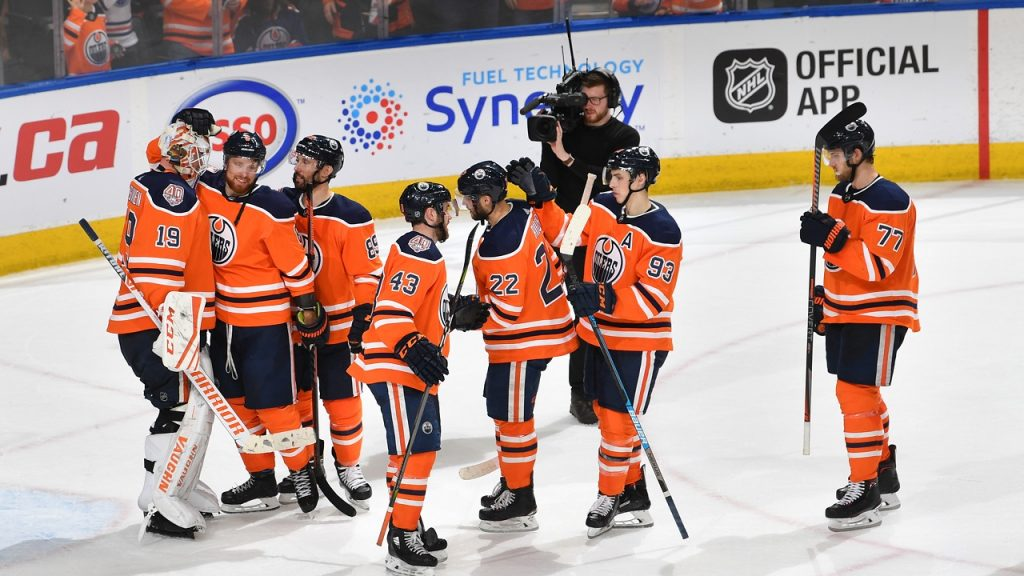 EDMONTON, AB - MARCH 26: The Edmonton Oilers celebrate a 8-4 win over the Los Angeles Kings on March 26, 2019 at Rogers Place in Edmonton, Alberta, Canada. (Photo by Andy Devlin/NHLI via Getty Images)